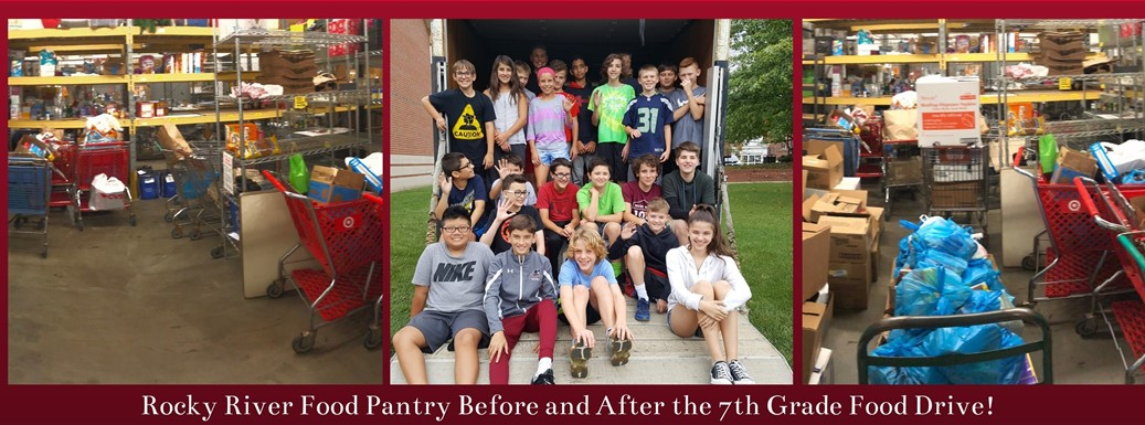 Pictures of students delivering food to food pantry