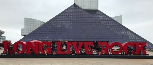 Students in front of rock and roll hall of fame