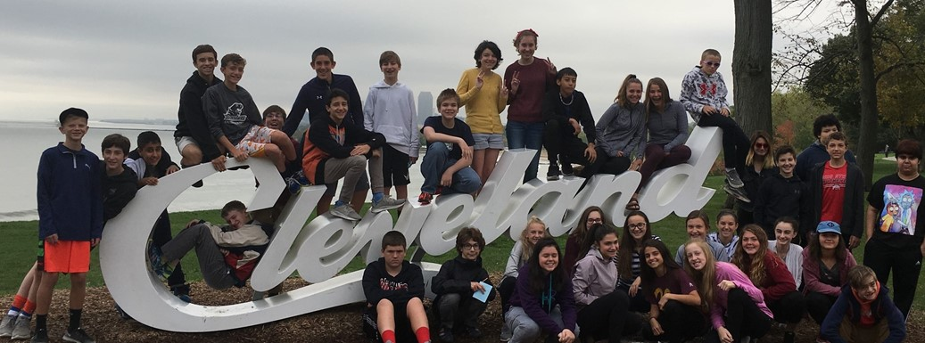 Students in front of the Cleveland sign