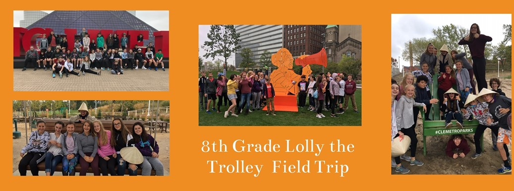 Students visiting Cleveland landmarks on field trip