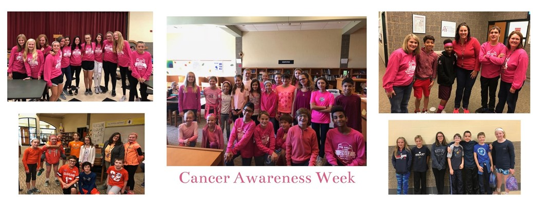 Students and staff wearing different colors to promote cancer awareness