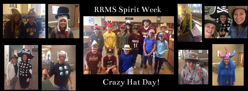 Students and staff wearing crazy hats to promote school spirit