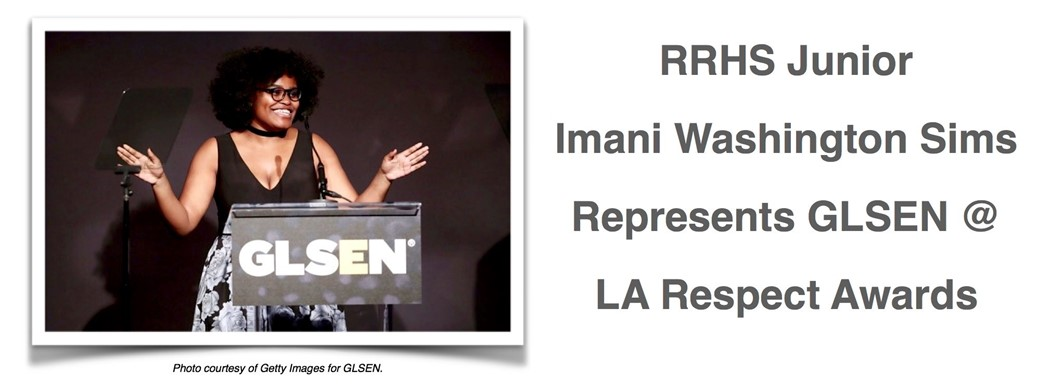 Imani Washington Sims at podium of LA Respect Awards Ceremony in LA.