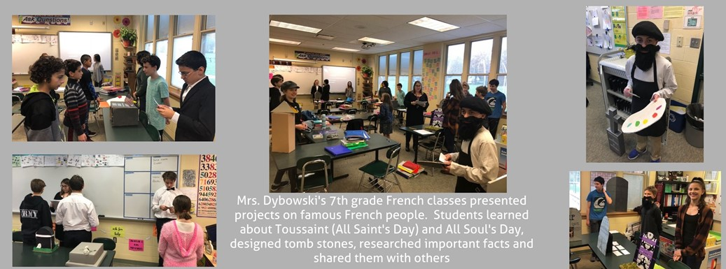 French students presenting about famous French people in class