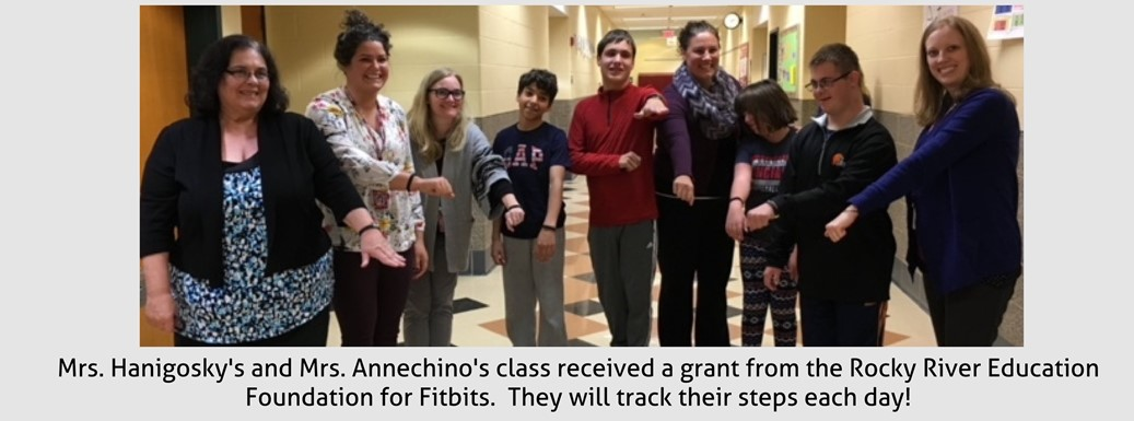 students and staff displaying new fitbits
