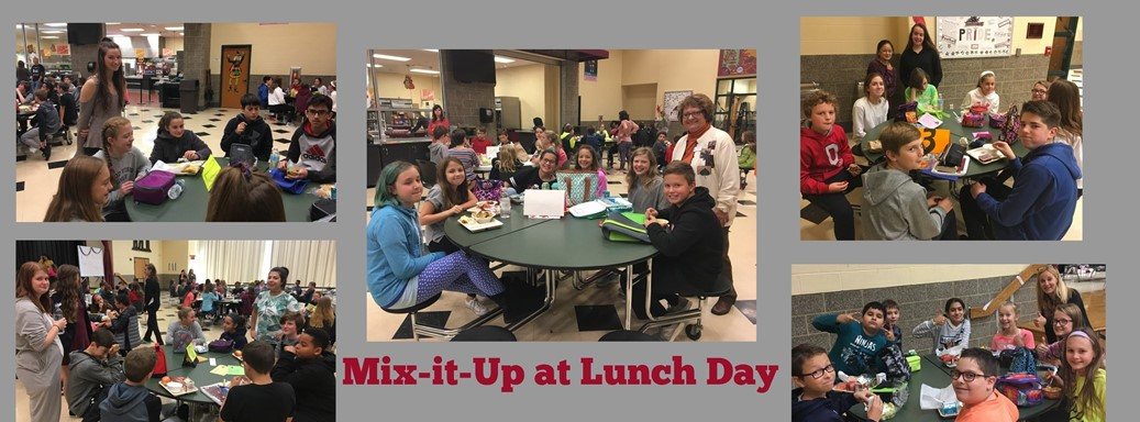 students during mix-it-up at lunch day eating in cafeteria
