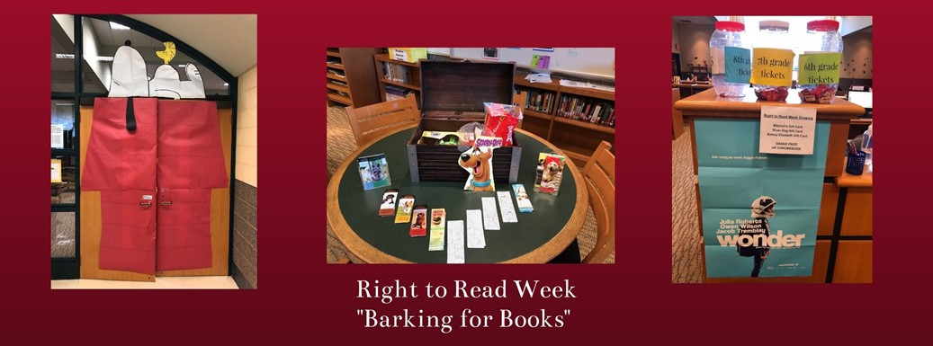 Images of the media center decorated with Snoopy for right to read week