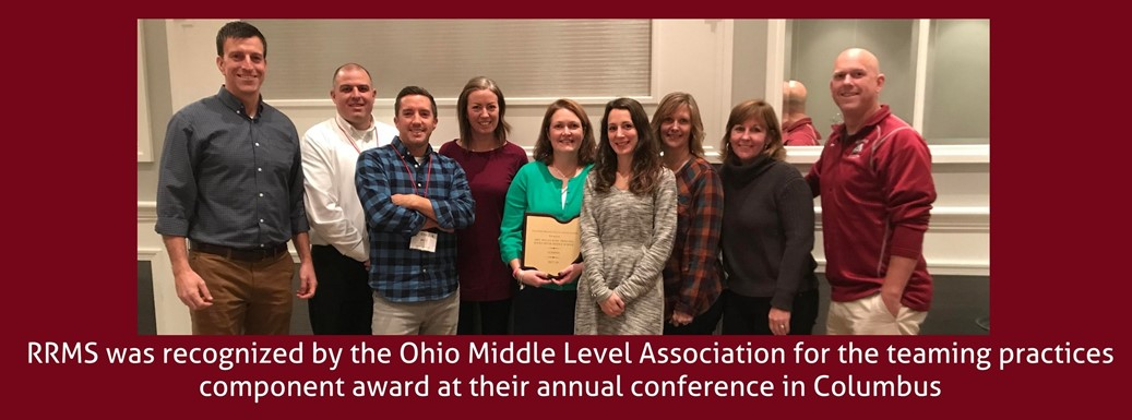 RRMS staff with the teaming award won at the OMLA conference
