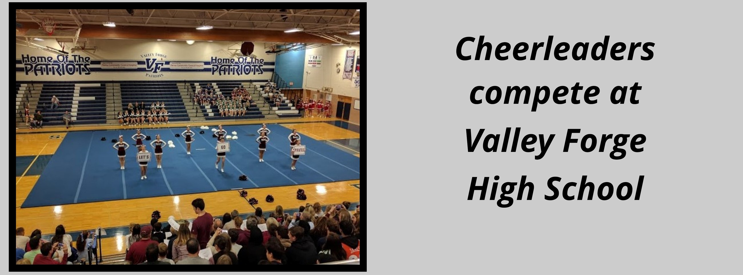 10 Rocky River High School Cheerleaders performing on gym floor, three holding a sign that says ''Let's Go Pirates''