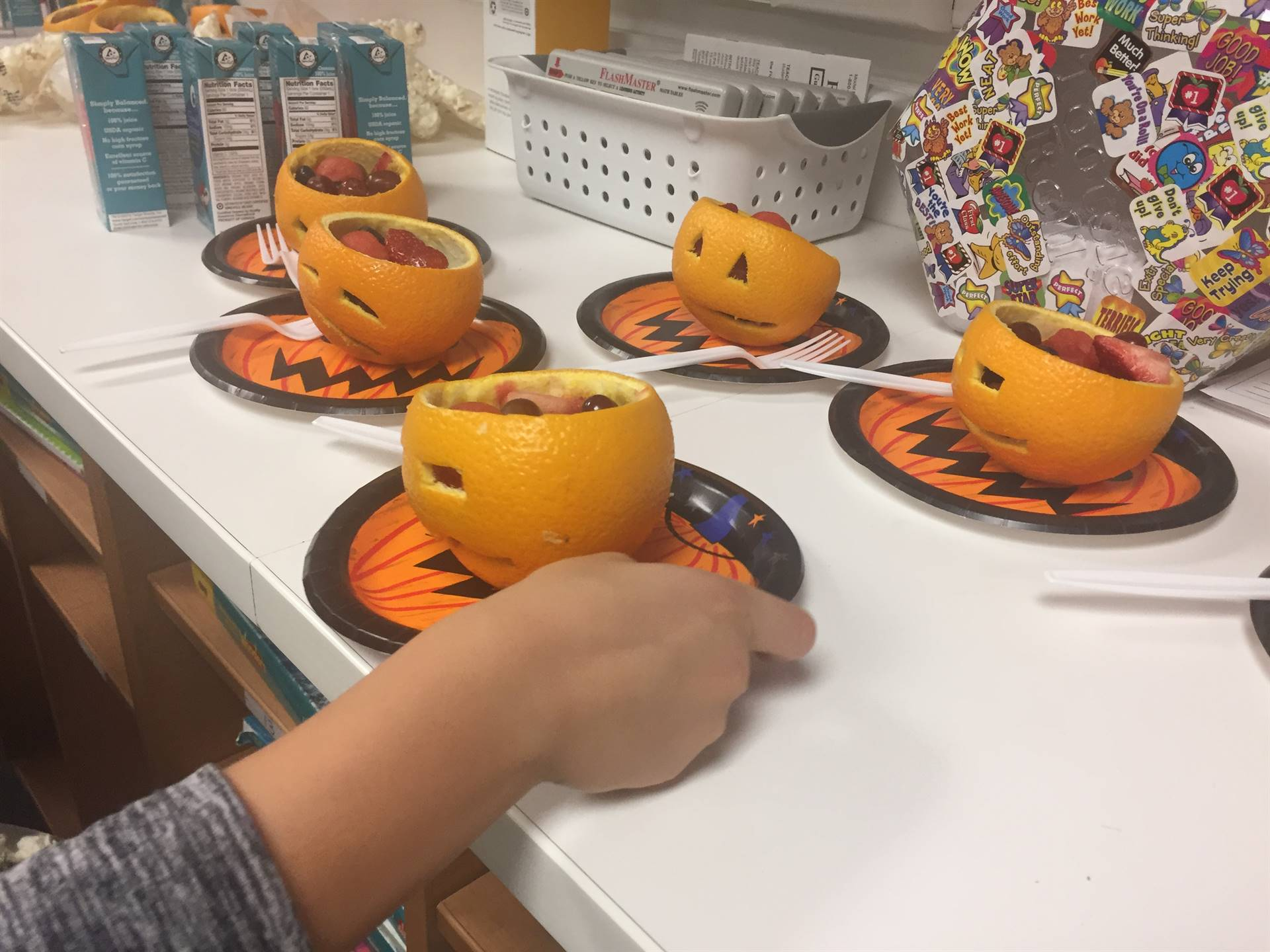 Cute pumpkin fruit cups