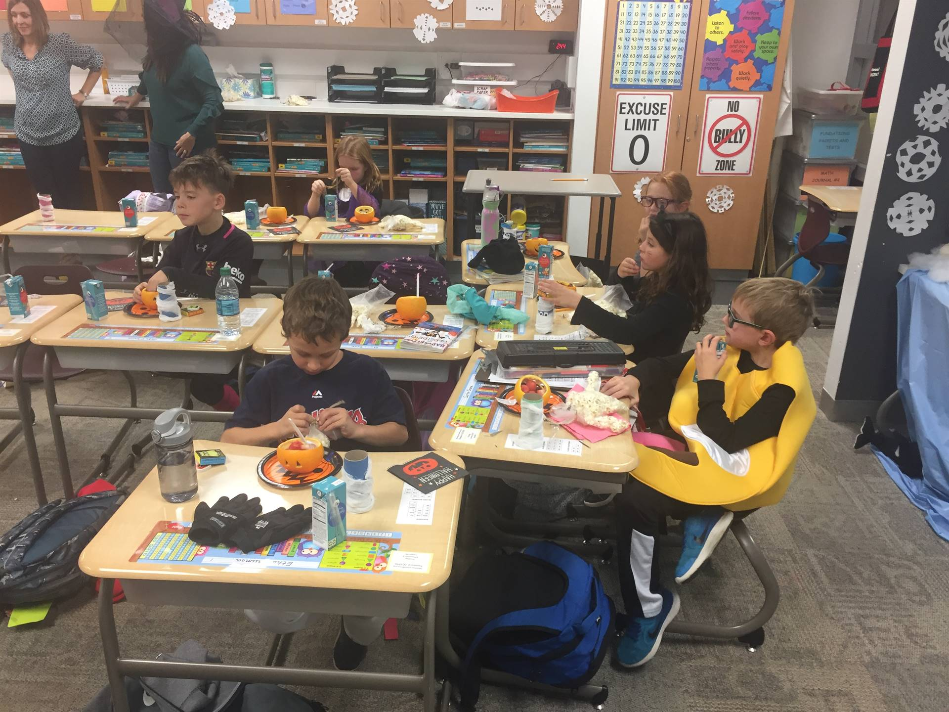 Students snacking at Halloween party