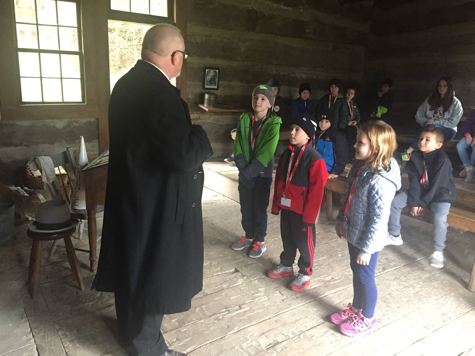 Students at the one room school house at Hale Farm