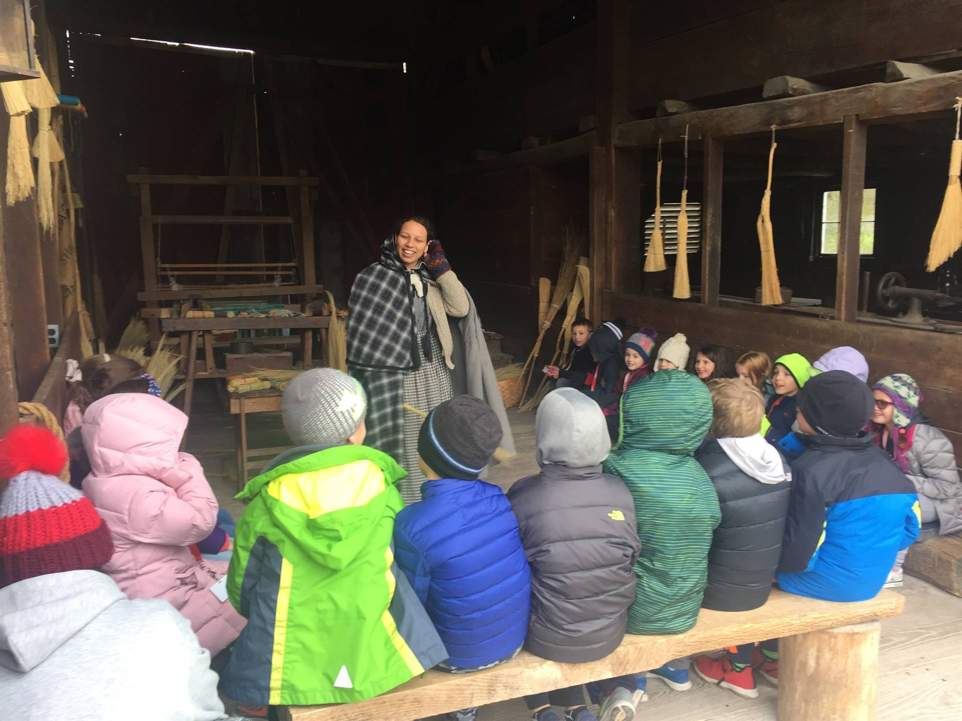 Students learning about broom making at Hale Farm