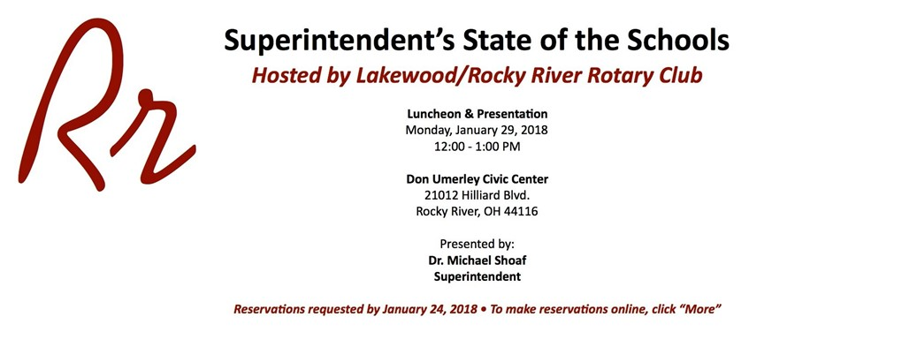 RSVP for State of the Schools presentation on January 29, 2018
