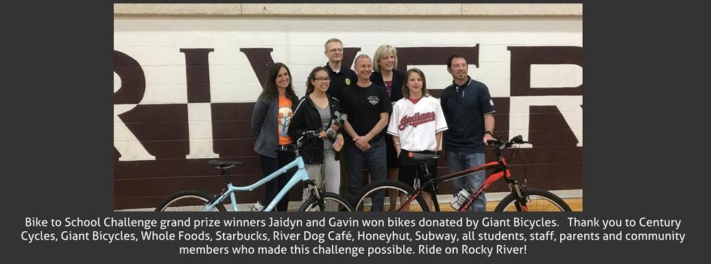 Bike to School Challenge Grand Prize Winners with bikes