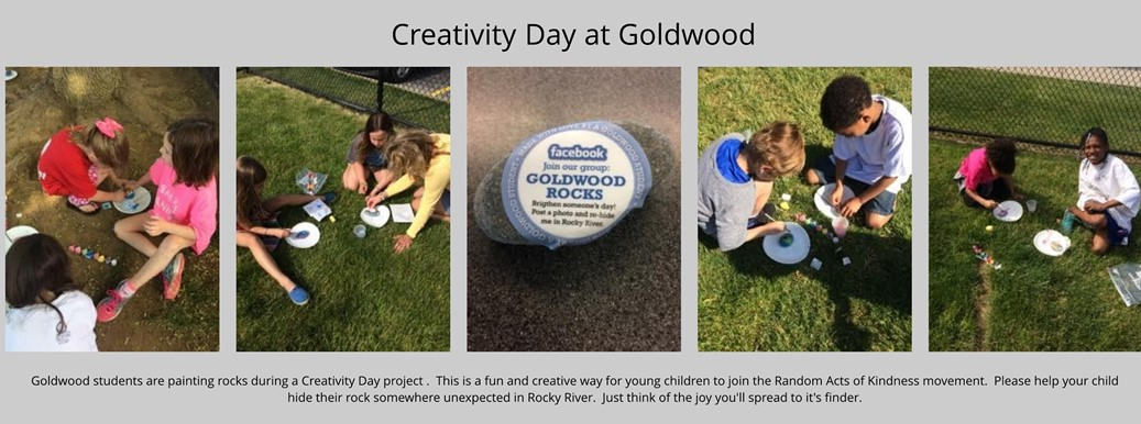 Goldwood students painting rocks for Creativity Day