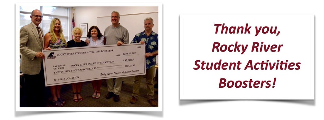 Rocky River Student Actvities Boosters presents $85,000 check to Board of Education.