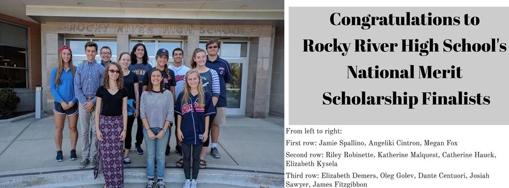 12 National Merit Scholarship Students standing in front of school building