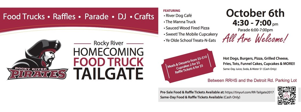 Rocky River Homecoming Food Truck Tailgate, Oct. 6, 4:30-7:00 PM