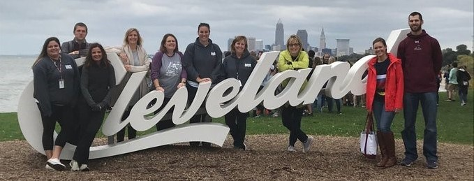 students by cleveland sign