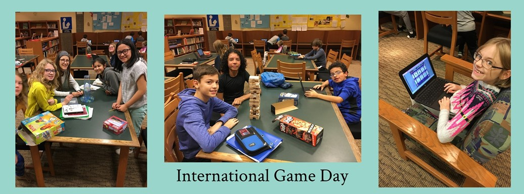students playing games in the library