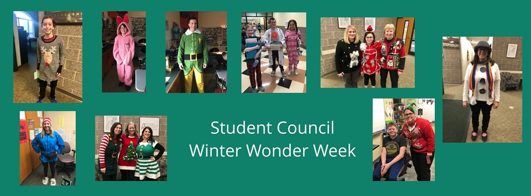students and staff dressed up for the holidays