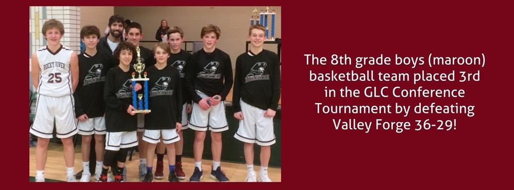 8th grade basketball team wins third place trophy
