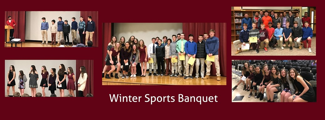 Cheerleaders and basketball players at the sports banquet