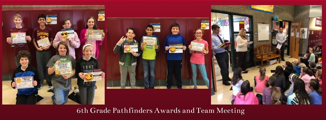 6th grade students meeting and receiving awards