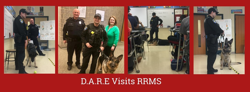 Police and K-9 dog visit health classes