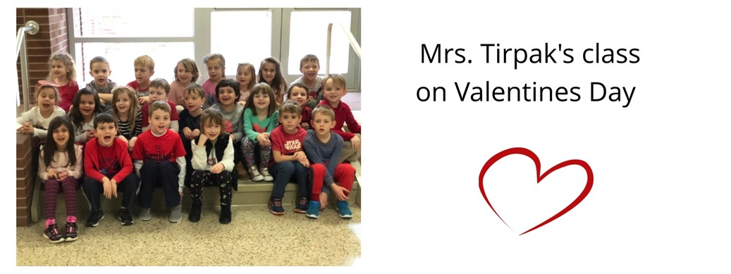 Mrs. Tirpak's class picture on Valentines Day