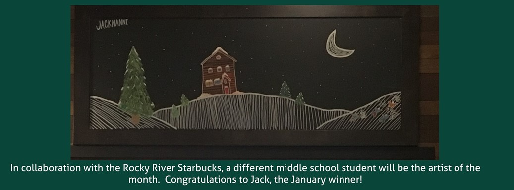 Winter scene painted by our artist of the month Jack