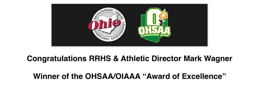 """Ohio HS Athletic Assn. logo an """"O'' with a torch and Ohio Interscholastic Athletic Adminstrative Assn. with state of Ohio and the word ''Ohio'' going across"""