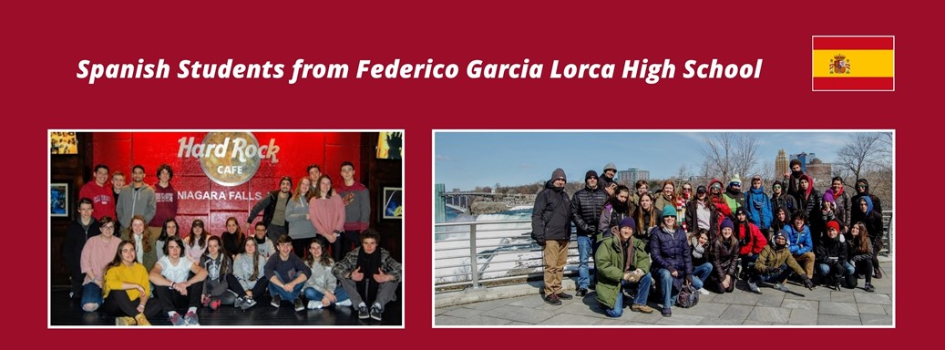 2 photos 1 of group of Spanish Students in front of Niagara Falls and other in front of Hard Rock Cafe sign and Spanish flag clip art