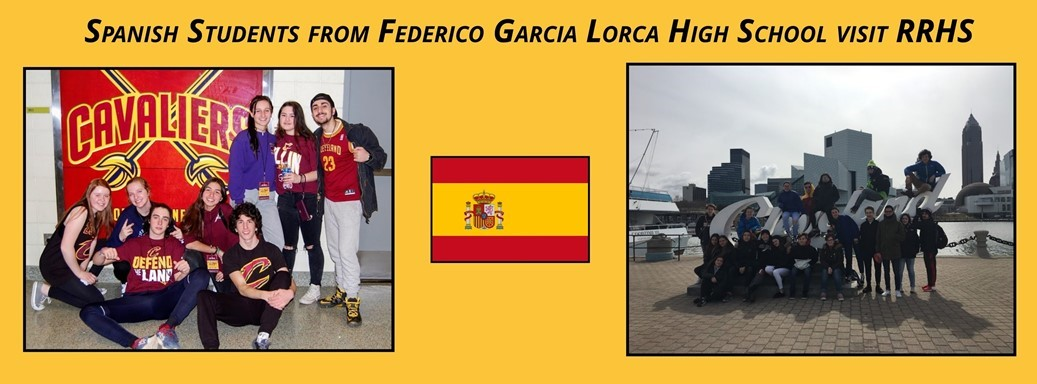2 photos, one of Spanish Students in front of Cleveland sign the other in front of Cavaliers sign, Spanish flag clip art