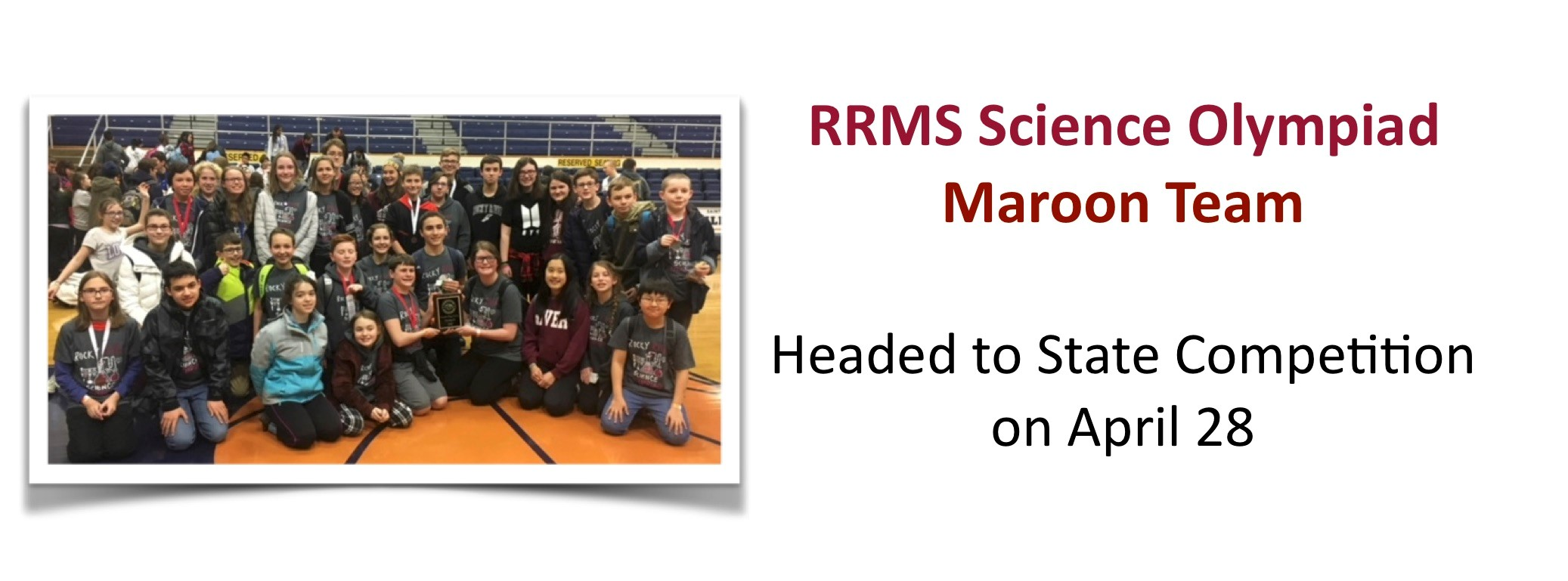 RRMS Science Olympiad Team headed shows off their 4th place plaque.