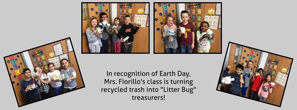 Mrs. Fiorillo's class creates Earth Day treasurers from litter