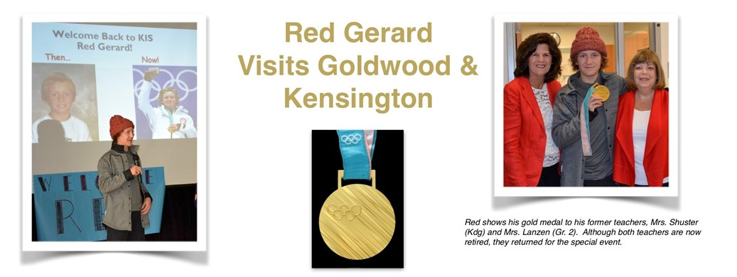 Red Gerard  Visits Goldwood & Kensington. Red shows his gold medal to teachers Mrs. Shuster (Kdg) and Mrs. Lanzen (Gr. 2).  Although both teachers are now retired, they returned for the special event.