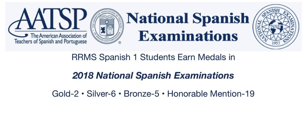 ongratulations to students from Rocky River Middle School who attained national recognition for excellent performance on the 2018 National Spanish Examinations.