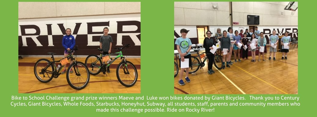 student winners at bike assembly