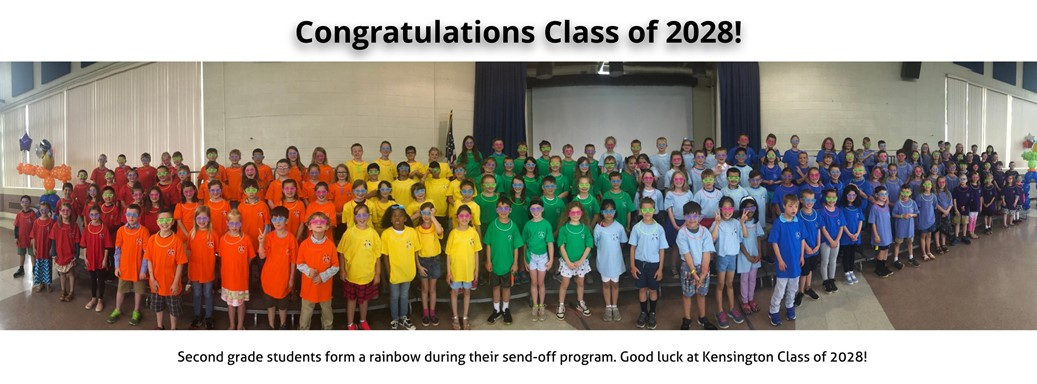 Second Grade students form a rainbow for their send-off program