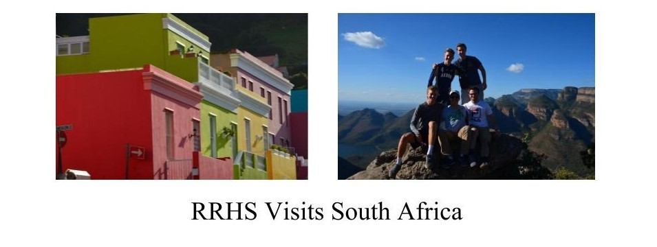 RRHS students in south africa; two pictures, one of painted row houses, the other of kids on table mountain.