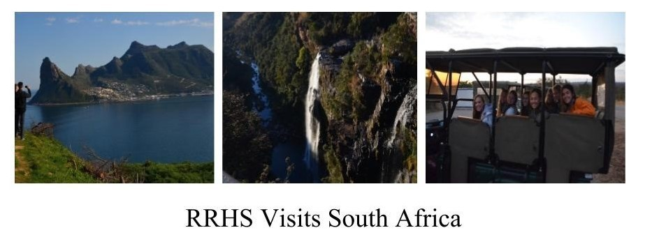 three pictures from south africa; students on safari, camps bay and a waterfall.