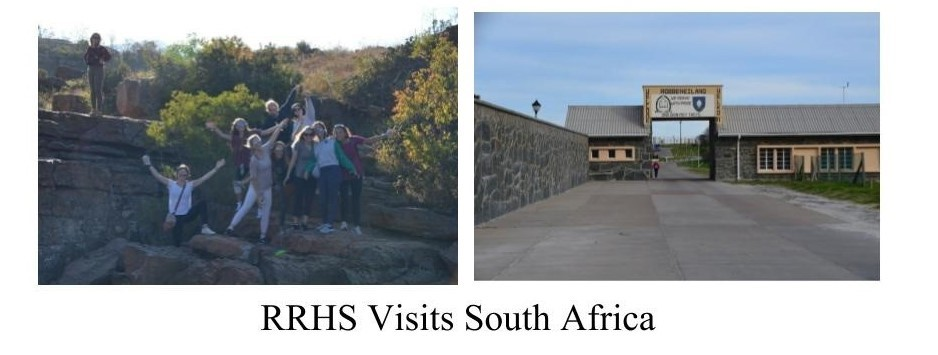 two pictures: one of a group of students on a rock outcropping, and one of robben island.