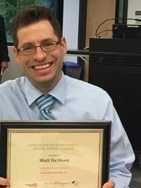 Outstanding Educator Award Winner:  Matthew DeMooy
