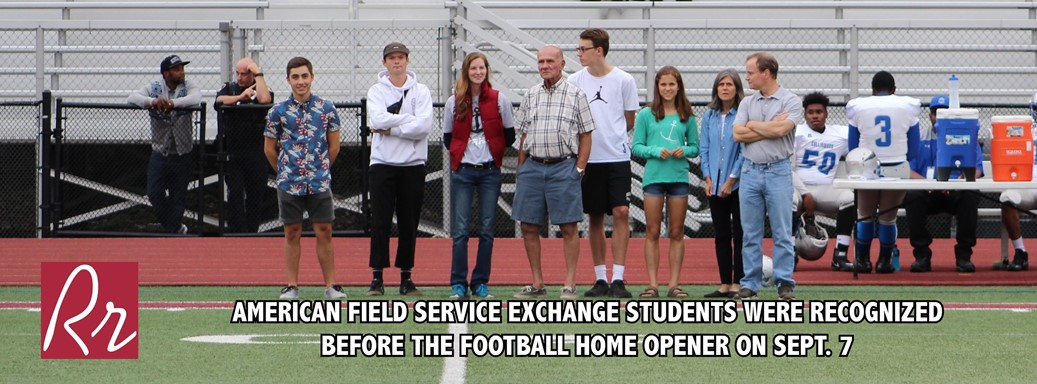 AFS (American Field Service) Exchange students honored prior to Friday's football game.