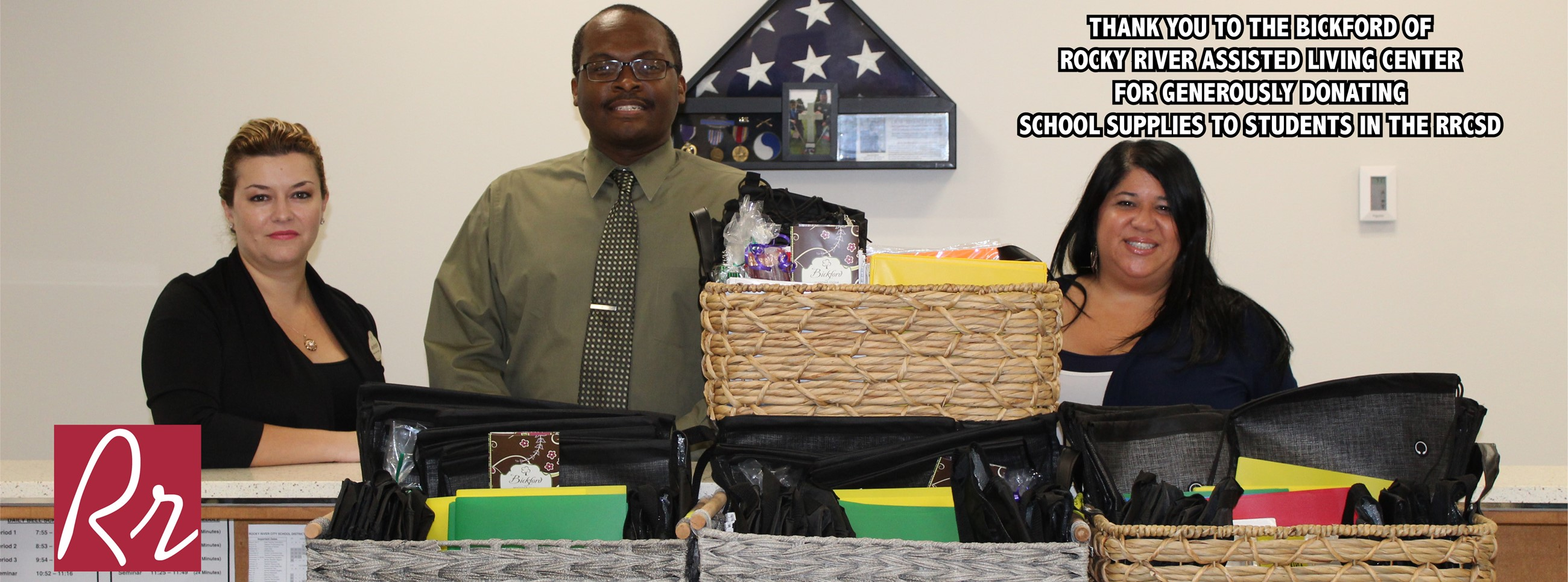 Thank you to the Bickford of Rocky River Assisted Living Center for generously donating school supplies to the RRCSD.