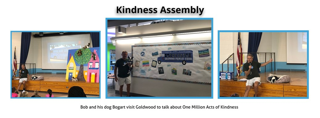 Students learn about one million acts of kindness from Bob and his dog Bogart