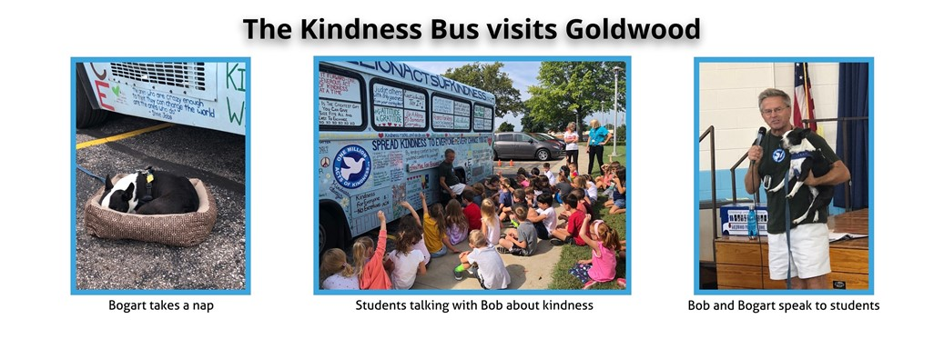 Bob and his dog Bogart visit Goldwood in their Kindness Bus