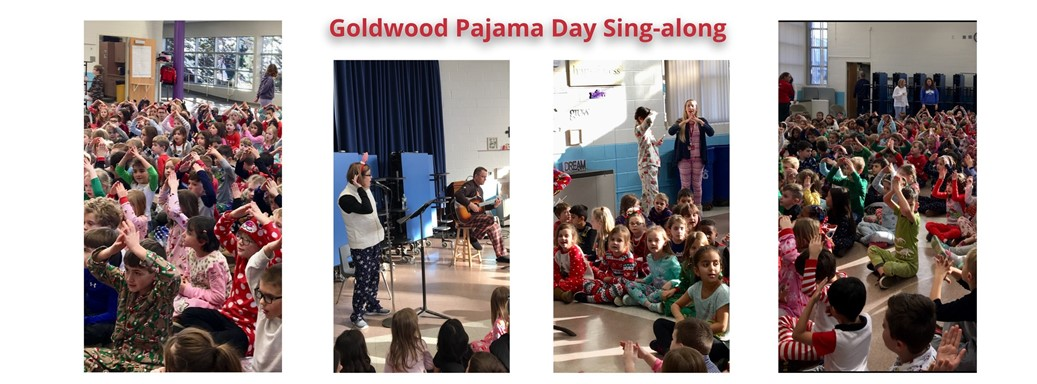 Students enjoy a sing-a-long on Pajama Day
